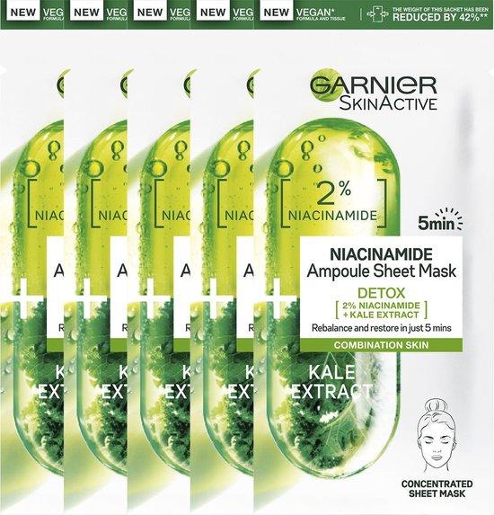 Garnier SkinActive Ampul Sheet Mask Met Boerenkool & Niacinamide - 5 Stuks