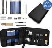 VoordeelShop Professionele Schets Potloden Set 33-Delig - Teken Potloden - Accessoires – Tekenen met Houtskool & Grafiet - Etui - Teken Set - Potloden - Potlood
