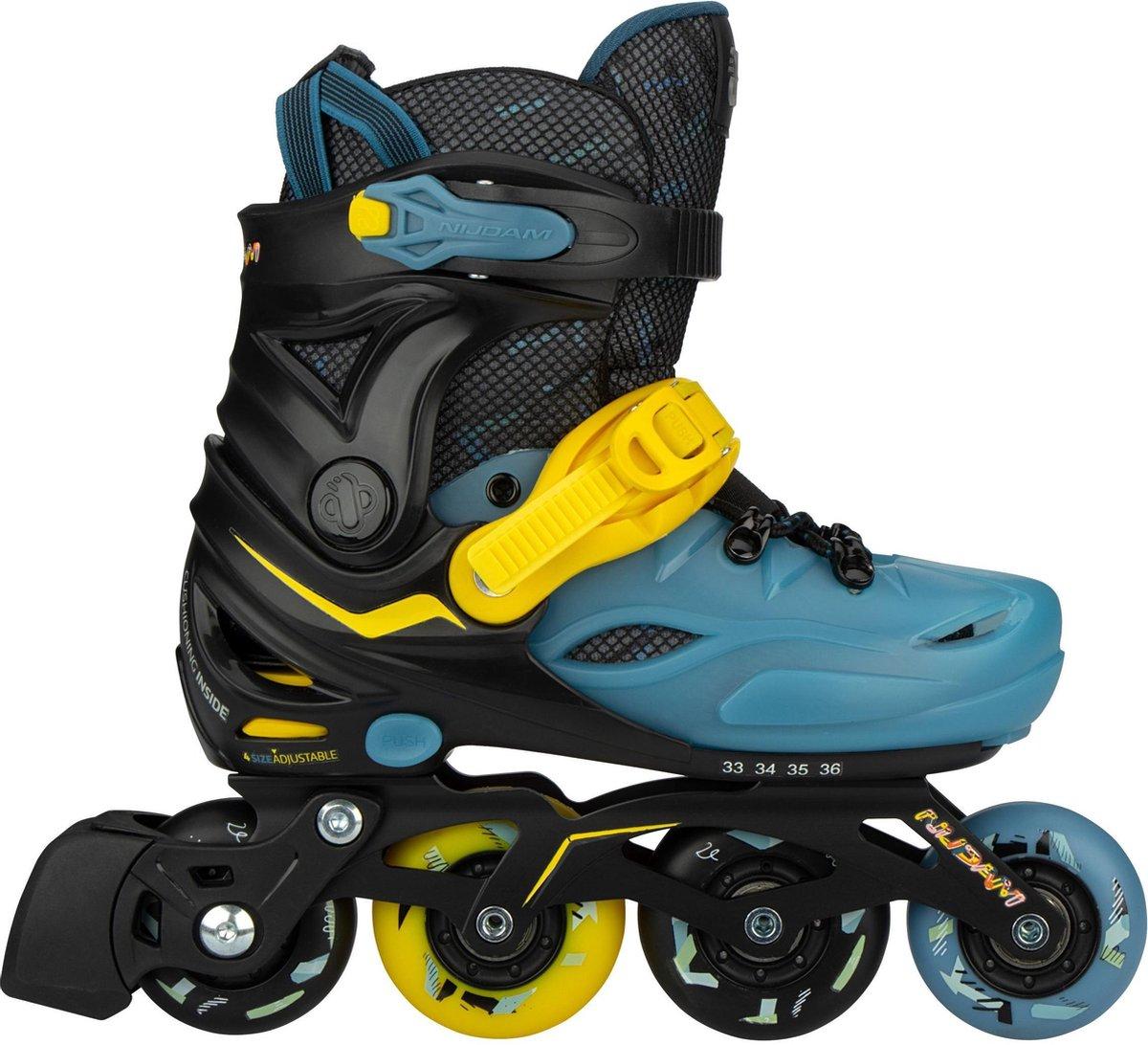 Nijdam Inline Skates Verstelbaar - 37-40 - Blacktop Game - Zwart/Blauw