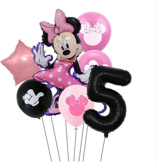 7 stuks ballonnen Minnie Mouse thema - verjaardag - 5 jaar