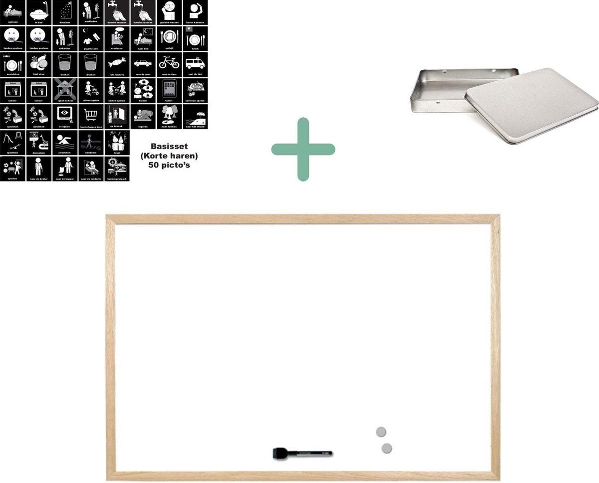 Magnetische pictogrammen | Startpakket Basis (lange haren) | Planbord + 50 picto's + bewaarblik