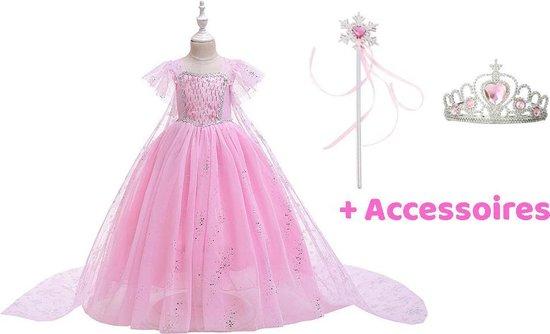 Elsa Jurk | Luxe Verkleedjurk | Prinsessenjurk Meisje |maat 110/116 (120)| Verkleedkleren Meisje | Frozen Jurk | Prinsessen Verkleedkleding | Carnavalskleding Kinderen | Roze
