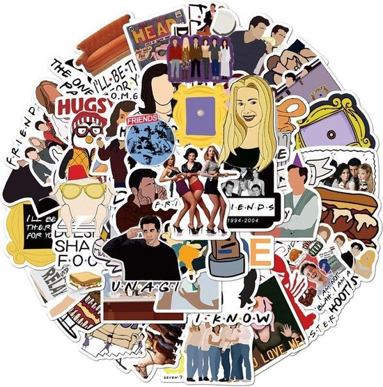 Friends stickers - 50 stuks - Friends tv serie - Friends merchandise - Central perk - Friends serie - Stickers volwassenen - Stickers kinderen - Laptop stickers