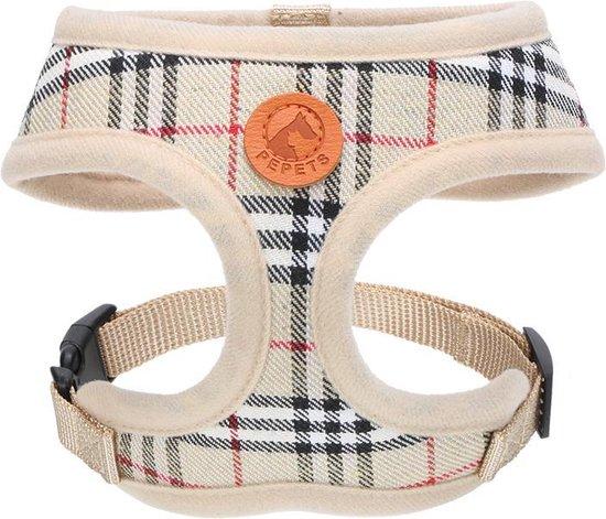 Pepets © Luxe Hondentuig – Hondenharnas – Tuigje puppy – Hondentuigje – Harnas Hond - Beige Ruit - Maat XS