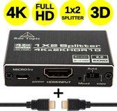 Rde Topic Professionele HDMI-Splitter 2 in 1 met HDMI Kabel– Dupliceren van hetzelfde Beeldscherm – Inclusief HDMI Kabel - 2 Poorts, 1 in en 2 Uitgaande HDMI's – Verdeler Monitors en Tv's