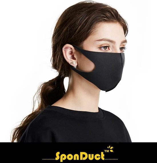 Afbeelding van SponDuct® 3D Fashion Mask 1 Layer Zwart - Mondmasker - OV - Mondkapje - Wasbaar - Mond Maskers