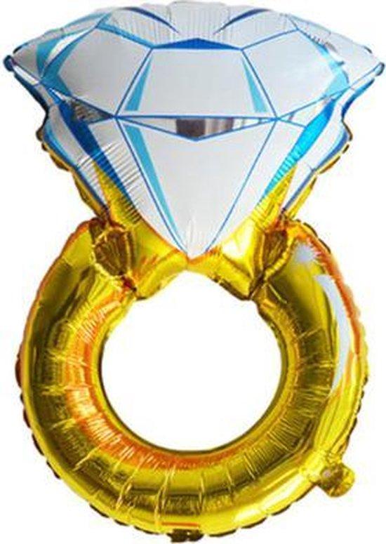 Trouwring ballon - XL - 85x54cm - Folie ballon - Ballonnen -  Bruiloft - Verlovingsring - Bruiloft versiering - Bruidegom - Bruid - Just married - Versiering - Ballonnen - Thema feest