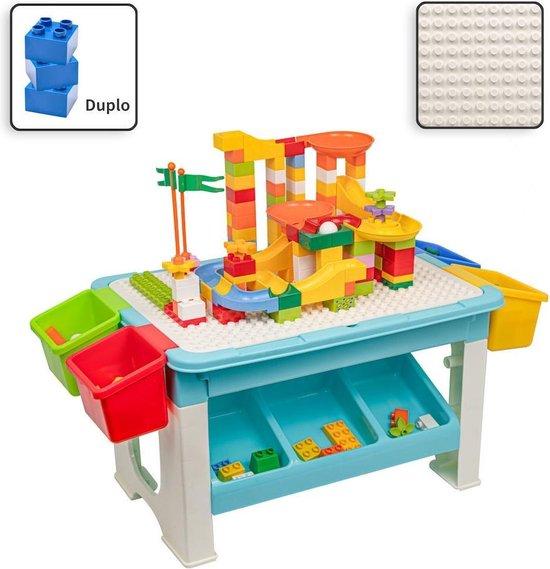 Decopatent® - Speeltafel met bouwplaat (geschikt voor Duplo® blokken) en vlakke kant. Kindertafel met 7 Opbergbakken - Bouwtafel