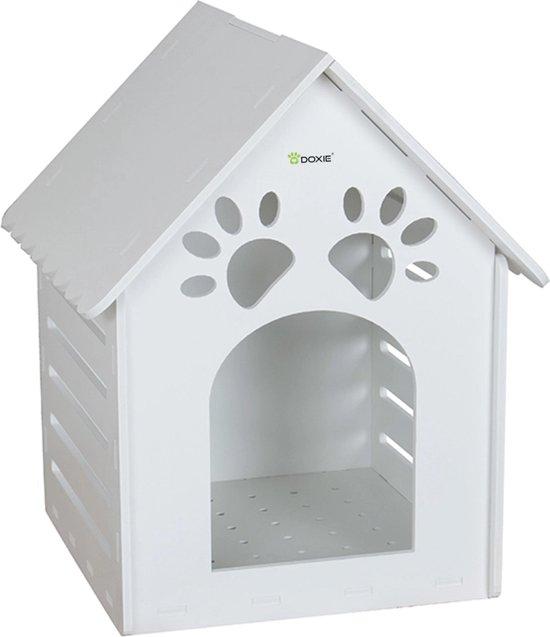 Doxie® Hondenhuis – Kattenhuis – Hondenhok – Kattenhuisje – Hondenhuisje voor binnen en buiten – 40 x 43 x 58 cm – PVC Foamboard – Wit