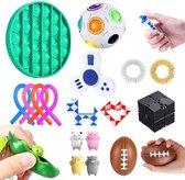 Fidget toys pakket set   Pop it   fidget toys box   fidget pea poppers   fidget cube   spinner - 15delig