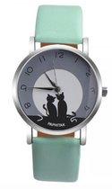 Hidzo Horloge Paphitak Katten - ø 37 mm - Turqoise - Kunstleer