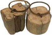 Deco4yourhome - Deurstop - Metalen Ring - Grof hout - 1st.