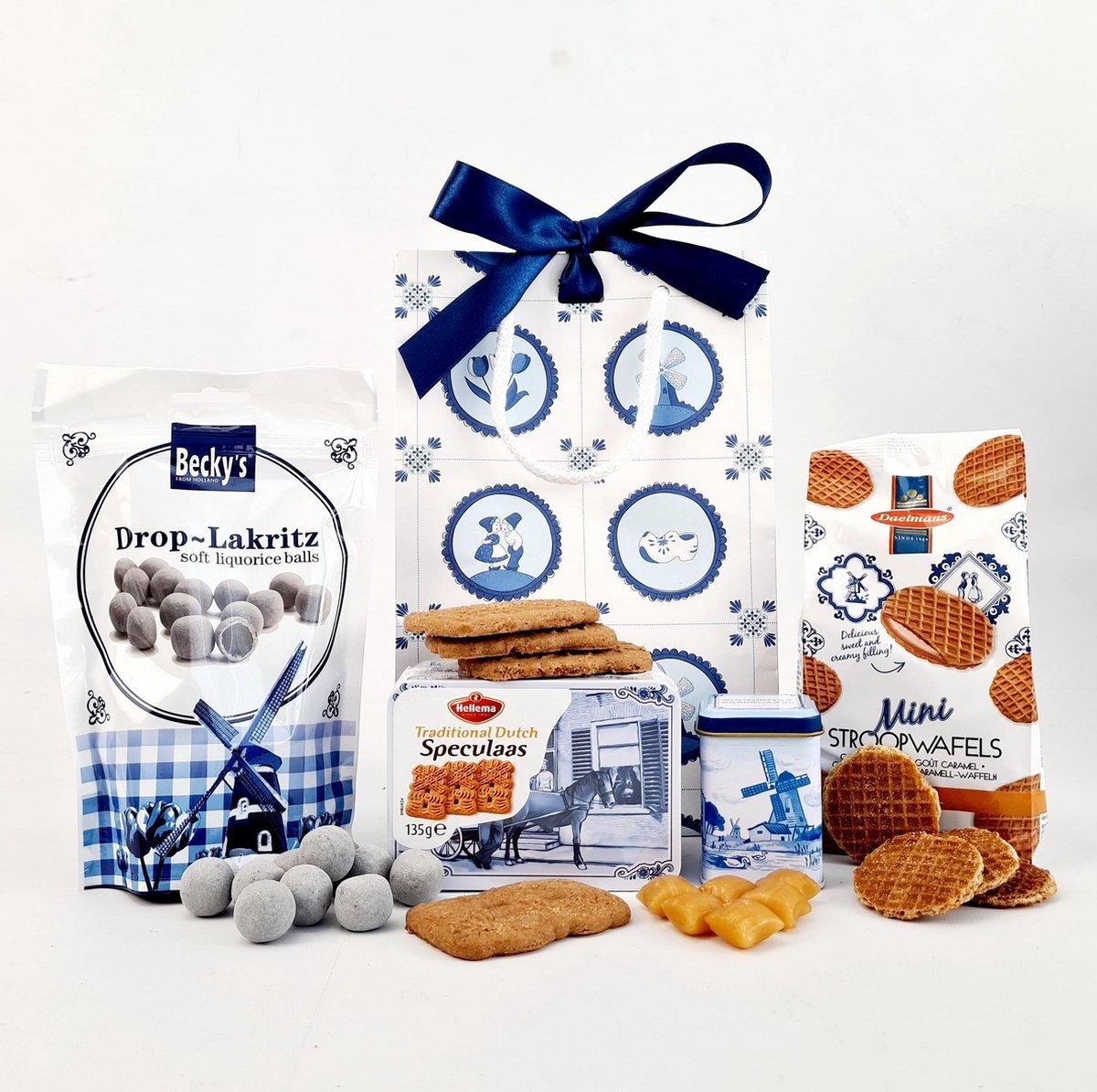 EBM Cadeaupakket Geschenkset Geschenkpakket Kerstpakket Hollandse Cadeautjes Delfts Blauw - tas M
