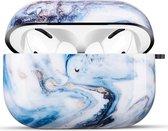 YONO AirPods Pro Hoesje - Hard Case - Met Clip - Blauw Marmer