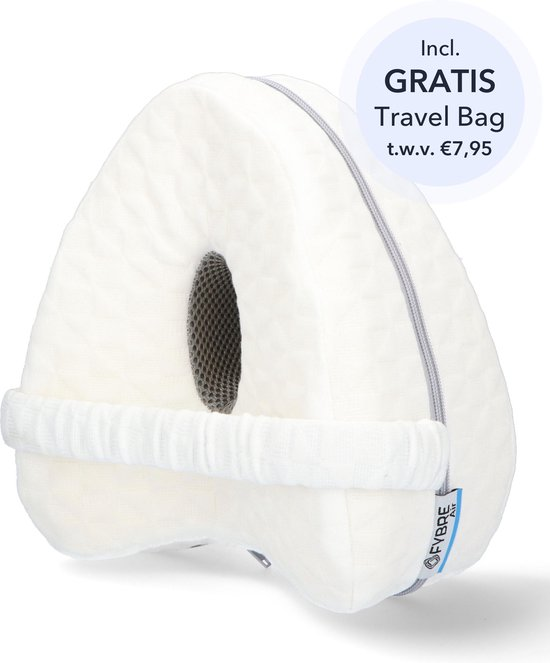 FYBRE® Air Orthopedisch Kniekussen – Zijslaapkussen - Beenkussen Voor In Bed – Ergonomisch Traagschuim – Inclusief Travel Bag - Zwangerschapskussen