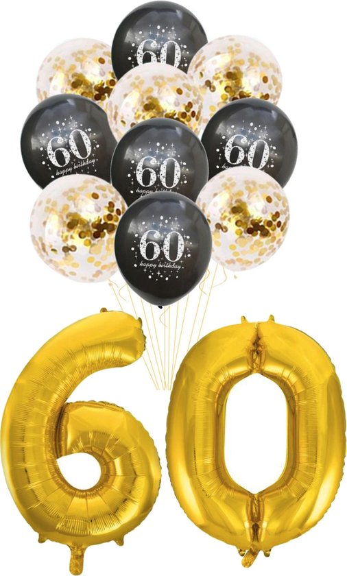 Folie Ballon set 60 jaar - met 5 gouden en 5 latex zwarte ballonnen - Goud - Zwart - verjaardag ballonnen - 1 meter