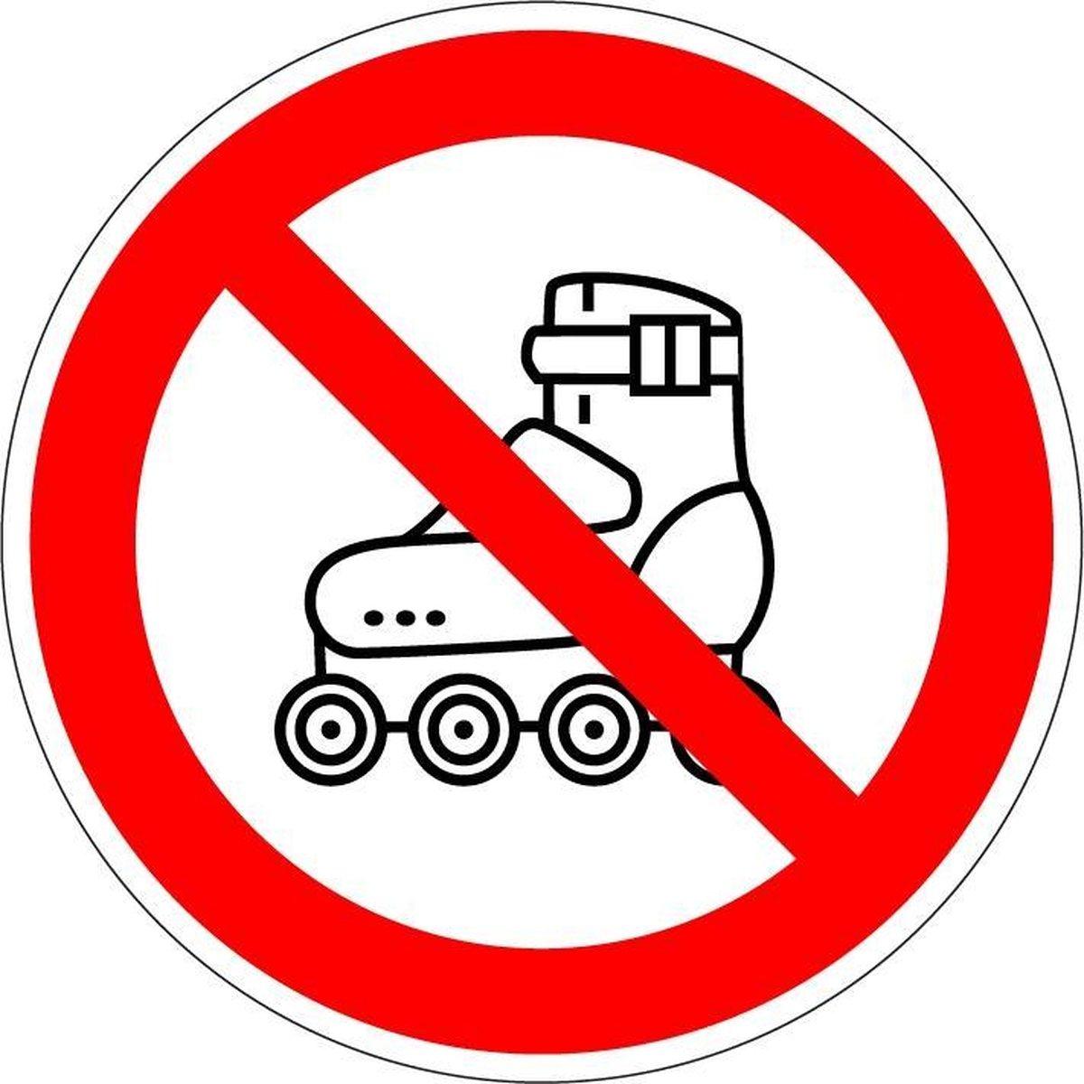 Verboden te skaten sticker 50 mm - 10 per vel