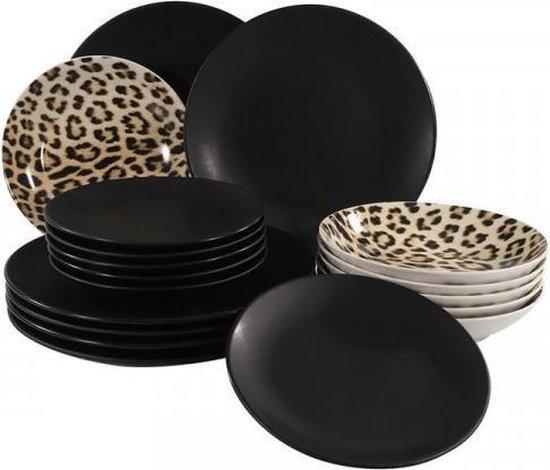 Serviesset mat zwart/luipaard 18-delig
