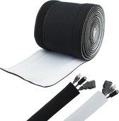 PrimeAmbition Kabel Organiser – Zwart / Wit - 330cm x 13cm – Kabel management – Voor Bureau en TV – Kabelbeschermer – Cable sleeve – Kabelhoes – Houder – Kabelmantel – Kabelsok
