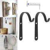 FSW-Products - 2 Stuks - Ophanghaken incl. schroeven - Kapstokhaken - Sleutelhaken - Muurhaken - Zwart - Wandhaken - Keukenhaken - Handdoekhaken - Haakjes - Haken - Ophanghaakjes - Tuinhaken - Industrieel - Bloempothaken - Kapstokhaken