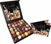 ChocolaDNA Moederdag chocolade bonbons truffels met persoonlijk retro moederdag poëzie album & design. Handgemaakt, en heel bijzonder cadeaupakket (circa 36 stuks)