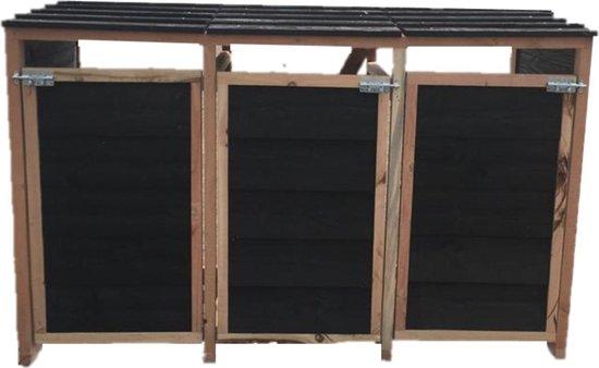 Containerombouw   Kliko ombouw   Containerberging - 3 stuks, zwart douglas