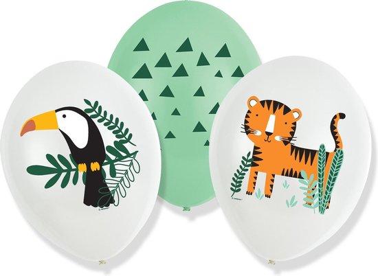 Amscan Ballonnen Wilde Dieren 27,5 Cm Latex Wit/groen 6 Stuks
