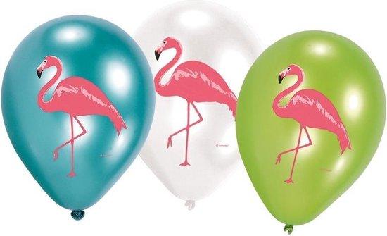 12x stuks Flamingo vogels/hawaii thema print ballonnen 27 cm - Feestartikelen/versieringen
