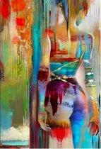 Diamond Painting - Abstracte Aquarel Naakte Jonge Vrouw - 40x50 cm - Vierkante steentjes - Volledige bedekking - Inclusief tools.