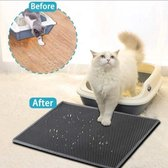 V&B Pet Products Waterdichte Kattenbakmat (40 X 50 CM) - Grit Opvanger - Kattenbak Accessoire - Honinggraad - Urine/Water Afstotend - Kat & Kitten - Zwart