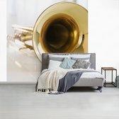 Fotobehang vinyl - Close up van een gouden trompet breedte 240 cm x hoogte 240 cm - Foto print op behang (in 7 formaten beschikbaar)
