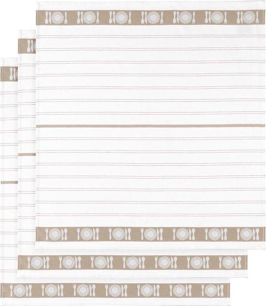 De Witte Lietaer Keukenhanddoek Bml Katoen Wit/beige 3-delig