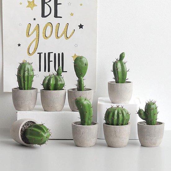 BaykaDecor - Kunst Cactus in Pot Set van 4 - Woondecoratie - Voor Binnen En Buiten - Kunst Plant - Nep Chlorofyl - 4 Stuks - 10CM