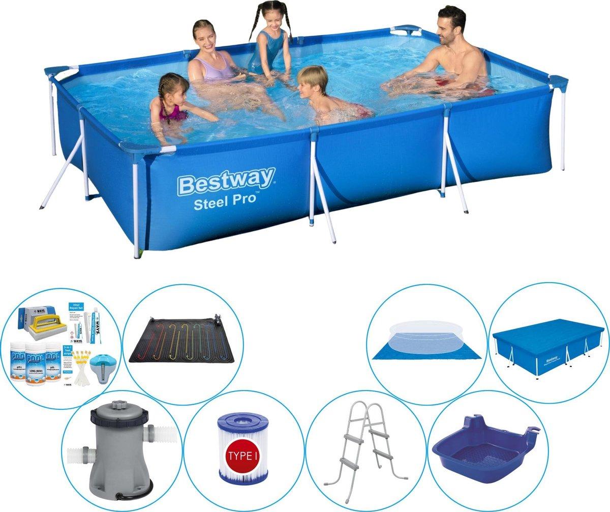 Bestway zwembad set - rechthoekig - Steel Pro - 300 x 200 x 66 cm - 3300 liter