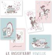 Kimago.nl - wenskaarten - kaartenset - ansichtkaarten - Huwelijk - bruiloft - 6 stuks