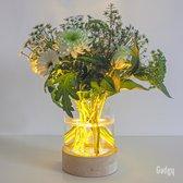Gadgy Vaaslamp XL - Vaas met LED verlichting – Houten Basis met 7 LED lampjes en Glazen Vaas – Werkt op 3 AA batterijen (excl.) – Met timer - Tafellamp - Totale afmeting: 20.5 x Ø 15.5 cm