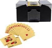 Kaartenschudmachine 4 decks – Schudmachine – Poker – Blackjack – Kaartspel – Inclusief 2 pakjes gouden speelkaarten