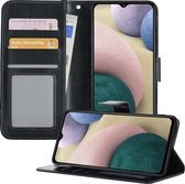 Samsung A12 Hoesje Book Case Hoes - Samsung Galaxy A12 Hoesje Case Portemonnee Cover - Samsung A12 Hoes Wallet Case Hoesje - Zwart