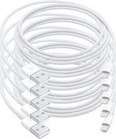 MMOBIEL 5 Stuks USB naar 8 Pins Lightning Kabel Oplader - voor iPhone / iPad / iPod