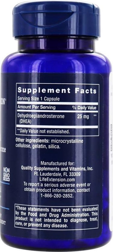 DHEA, 25 mg, 100 capsules, Life Extension