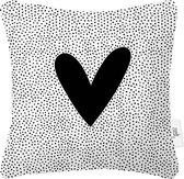 Zoedt Buitenkussen - hart - zwart wit - stippen patroon - 40x40
