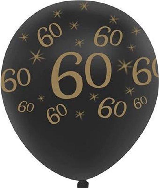 JDBOS ® 10 ballonnen (zwart) met gouden opdruk verjaardag 60 jaar