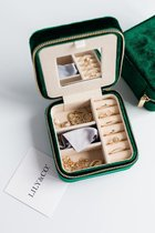 Lily&Co® Luxe Sieradendoosje Voor Op Reis - Compacte Sieraden Box - Cadeau Voor Haar - 10x10x5cm - Groen
