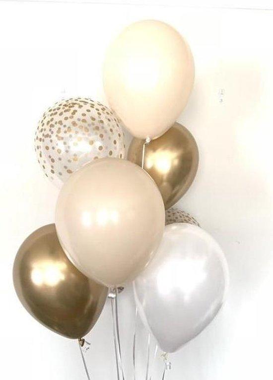 Huwelijk / Bruiloft - Geboorte - Verjaardag ballonnen | Beige - Goud - Off-White / Wit - Transparant - Polkadot Dots | Baby Shower - Kraamfeest - Fotoshoot - Wedding - Birthday - Party - Feest - Huwelijk | Decoratie | DH collection