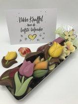 Cho-lala Moederdag boeketje chocolade tulpen | chocolade cadeau Moederdag | 180 gram chocolade tulpen | kaart