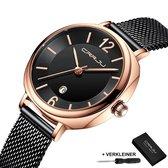 CRRJU  Horloges voor Vrouwen Dameshorloge Meisjes Dames Watch Horloge – Horlogebox Geschenkdoos – Zwart Rosé