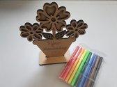 Moederdag do it yourself knutselsetje - Moederdag cadeautje-  Kleursetje - kado - bloemen - voor mama - zelf inkleuren - kinderen - knutselen Moederdag - knutselsetje - knutsel pakketje voor Mama - Fijne Moederdag - bloempot