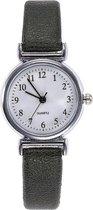 Fako® - Horloge - Ø 26mm - Zilverkleurig - Donkergroen