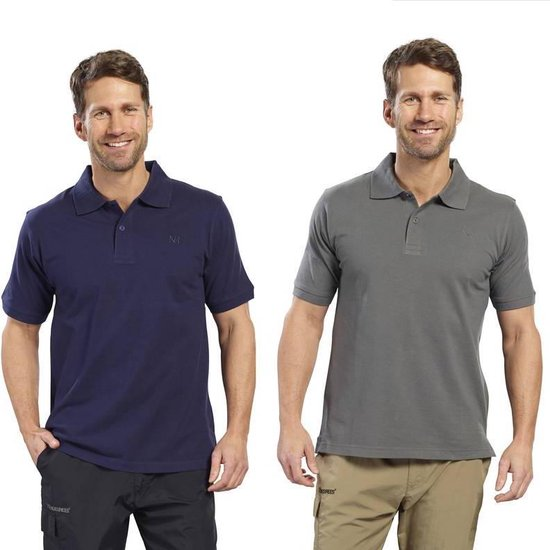 Poloshirt heren met knoopsluiting marineblauw maat XL