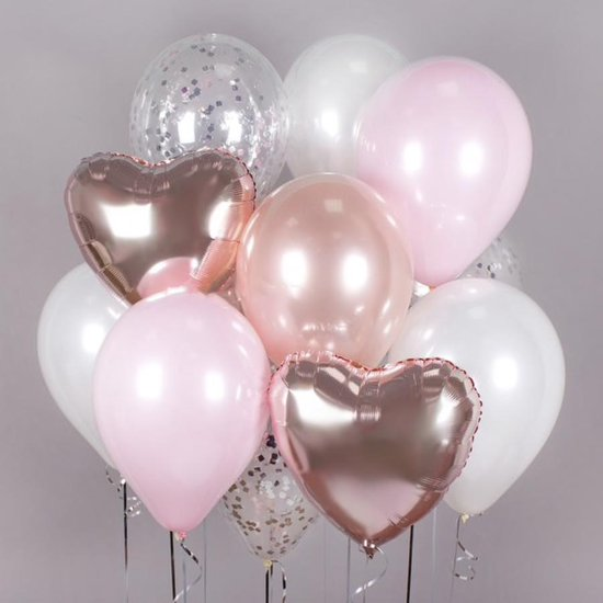 Nieuw bol.com | Luxe Ballonnen Roze Rose Gold Wit Zilver Confetti - 11 SA-63